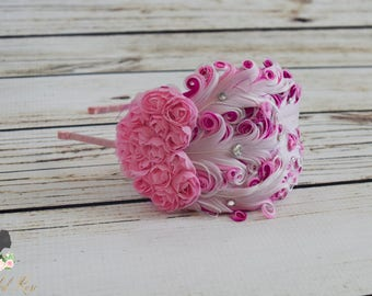 Handcrafted Pink and White Valentines Headband - Roaring 20s Headpiece - Fancy Feather Headband - Adult Valentines Day Headband - Pink Heart