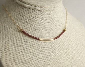 Necklace with Garnets and a 14k Gold-Filled, Curved Tube on a 14k Gold-Filled Chain GCDN-39