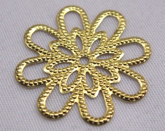 20pcs 18mm Gold Flower Filigree Stamping Raw Brass Loose Findings bf056
