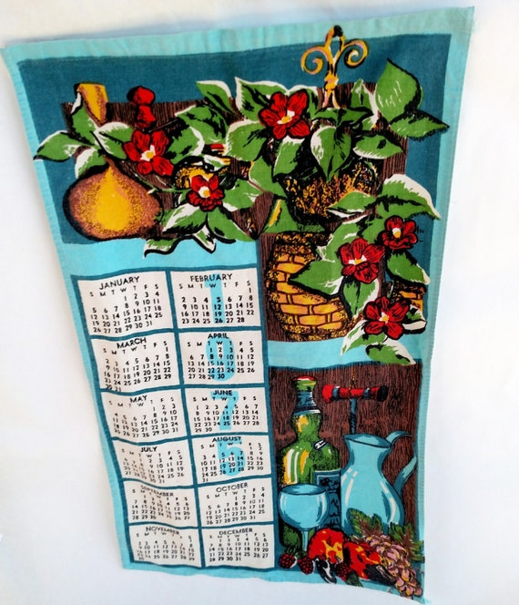 Vintage 1976 Linen Tea Towel Calendar with Flowers and Wine Bottle
