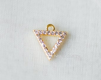 4pcs Micro Pave Gold Triangle Charms 10mm, Cubic Zirconia Paved Geometric Pendants, Real Gold plated Brass, Lead Nickel Free (GB-177)