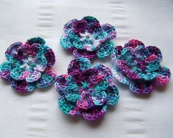 Appliques hand crocheted flowers embellishment set of 4 marbled cotton 1.5 inch