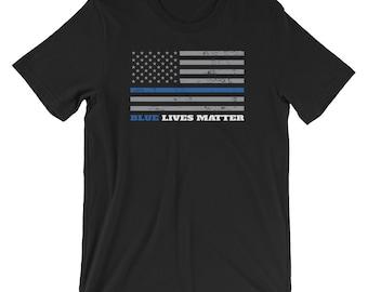 Blue Lives Matter - Thin Blue Line Flag T-Shirt