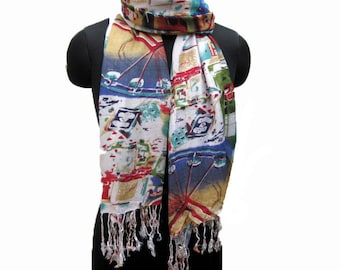 Multicolored scarf/ floral scarf/ fashion scarf / abstract print scarf/ / gift scarf/ gift ideas.