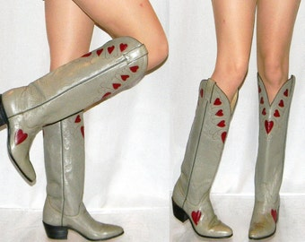 vintage 80s Justin heart cowgirl boots womens 5.5 heart cut outs inlay NOS