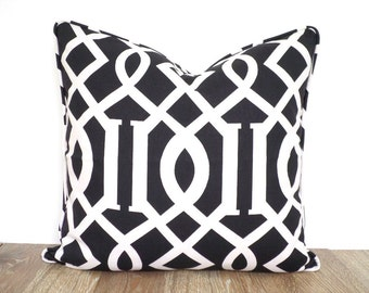 Black pillow cover 18x18 bohemian style, imperial trellis cushion with piping, geometric pillow case , black throw pillow, designer pillow