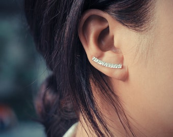 Textured Bar Sterling Silver Ear Climbers