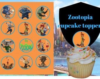 Zootopia cupcake toppers