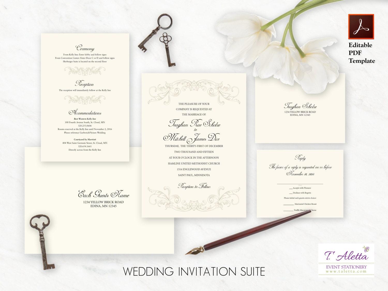 Printable Wedding Invitation Set Elegant Wedding Invitation