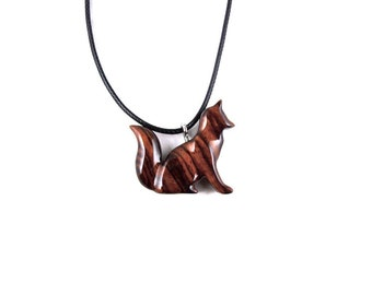 Fox Necklace, Fox Pendant, Fox Jewelry, Wooden Fox Pendant, Carved Fox Pendant, Spirit Animal Fox Totem Jewelry, Wood Sitting Fox Necklace