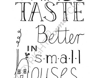 Tiny House Embroidery, PDF Embroidery File, Kitchen Art Embroidery Pattern, PDF Embroidery Pattern, Kitchen Decor Embroidery Pattern