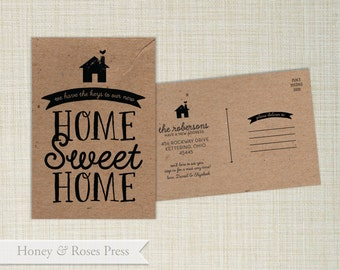 Moving Announcement  .  New Home Sweet Home Post Card  .  Kraft Moving Announcement  .  Digital Invite  .  Printable Invite