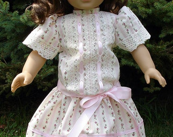 18 Inch Doll Clothes - Titanic Era Pink Stripe Ivory Lace Dress handmade by Jane Ellen to fit 18 inch dolls