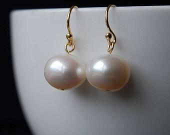 Classic Freshwater Pearl Earrings, size 11-12mm Medium size Freshwater Potato Pearl Earrings,  14K Gold Filled Ear Wires