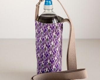 Purple Floral Water Bottle Sling, Purple Water Bottle Holder, Crossbody, Purple and Gray Cotton Fabrics, Handmade