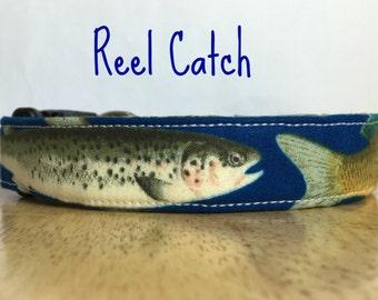 "Azure Blue Fish Ocean Dog Collar, Dog Collar for Boys ""Reel Catch"""