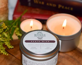 Death Wish- Bookish Handmade Soy Candle inspired by Tolstoy's War and Peace. Manly scented book candle. Book Lovers Gift