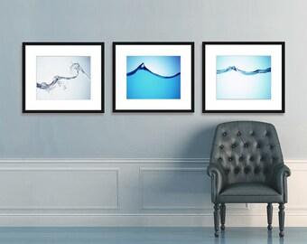 Abstract Art, Water Photography, Water Splash, Water Art, Modern Art, Art Deco, Blue Decor, Blue Art Wall Decor, Home Decor, Living Room Art