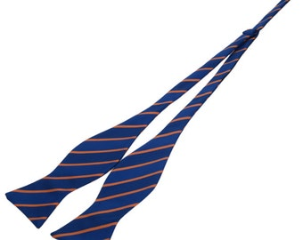 Royal Blue Self Bow Ties With Golden Stripes.Business Bowties.Suit Accessories