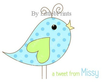 Blue Bird Green Heart Note Cards Set of 10 personalized flat or folded cards