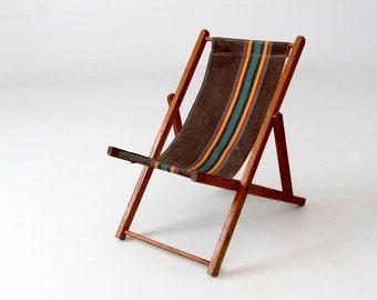 vintage children's deck chair, folding beach chair, kids patio chair