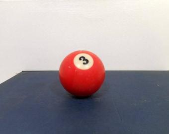 Vintage # 3 Billiard Ball, Pool Ball Red Number Three