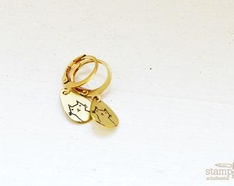 CAT earrings // teardrop raw brass hook earrings // hand stamped jewelry