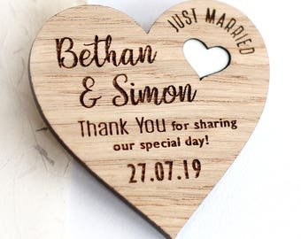 Thank You Wedding Magnets, Rustic Thank You Wedding Favours, Wood Wedding Favors, Wooden Thank You, Wooden Magnets, Wedding Thank You Gift