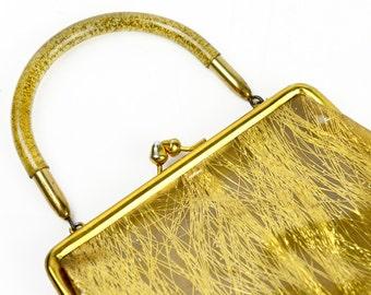 handbag, Lucite handle, purse, mid century modern, spaghetti gold, gold fleck lucite, acrylic, gold, J.R. USA,  a vintage beauty