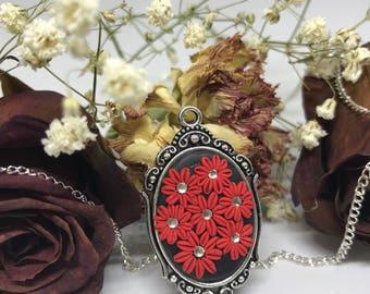 Floral Polymer Clay Applique Pendant Necklace with Swarovski Crystals