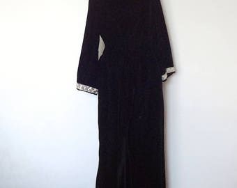 1960s Black Velvet Catsuit - vintage palazzo pant and bell sleeve lounge wear