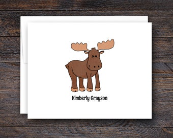 Moose Note Cards - Folded Note Card Set - Personalized Notecards | custom rustic moose gifts animal