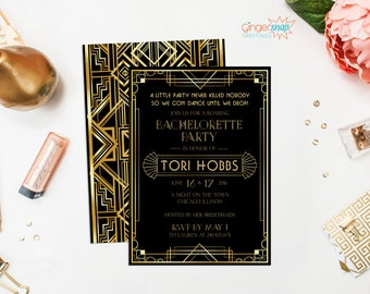 Great Gatsby Bachelorette Party Invitation