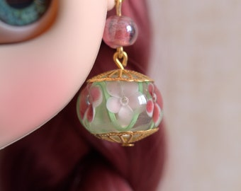 Large earrings from Indian glass beads for Blythe or similar doll.