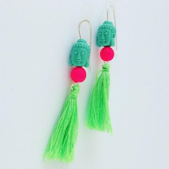 Buddha Tassel Neon Earrings - Sterling Silver - Festival - Dangle - Party -