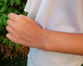 Minimalist Gold Bracelet, Delicate Bracelet, Square Bracelet, Gold filled, Geometric Jewelry, Gift for her