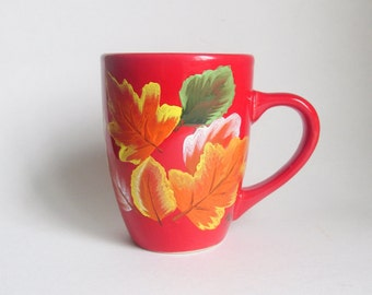 Red Coffee Mug - Hand-painted Fall Leaves 12 Ounce - Autumn Leaf Gift Cup