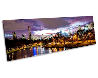 Melbourne Australia City Night CANVAS WALL ART Panoramic Framed Print