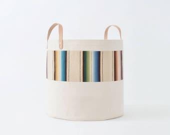 Large Natural Canvas Bucket Basket: Tan Stripe