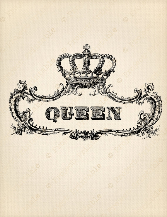 Ornate Frame Royal Queen Crown Digital Transfer Instant