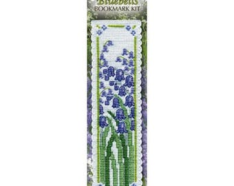 Bluebells Counted Cross Stitch Bookmark Kit. Complete Kit. Flower bookmark. Stitch on Aida Band, stranded cotton, tassle and felt backing.