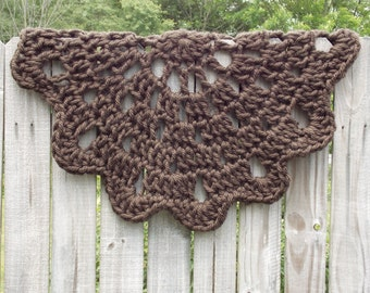 Chocolate Brown Chunky Circle Doily Rug - Farmhouse - Shabby Chic - Cottage Chic