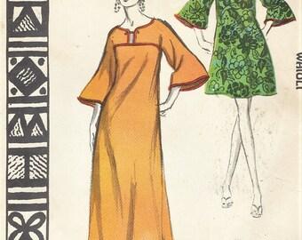 1960s Womens Waioli Dress Muu-Muu, Caftan or Swimsuit Cover Up Mini or Maxi Polynesian Pattern 203 Size 16 Bust 38 FF Vintage Patterns