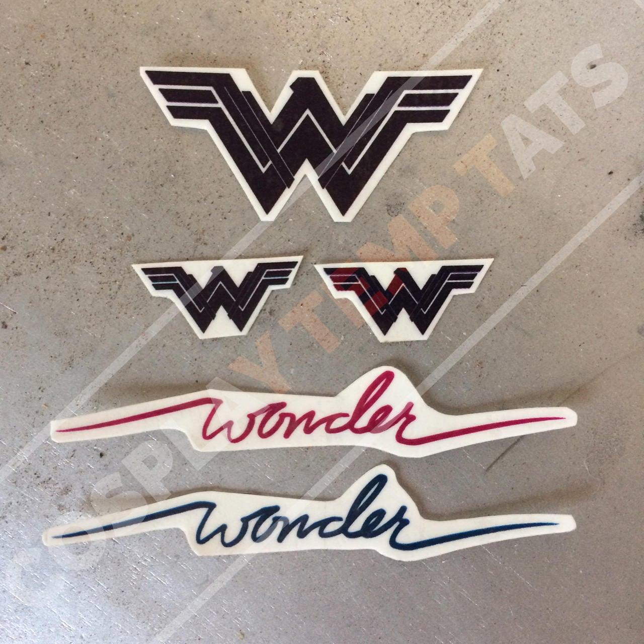 Wonder woman temporary tattoo temp tat blue red script cursive for Wonder woman temporary tattoo