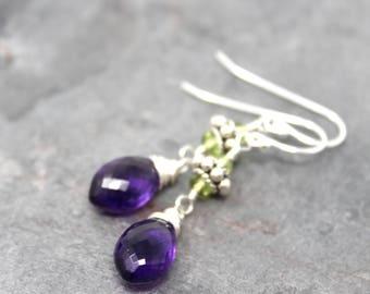 Amethyst Earrings Sterling Silver Peridot Bali Elegant Dangles Purple Green