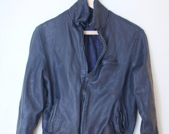 vintage navy blue leather cafe racer jacket womens small
