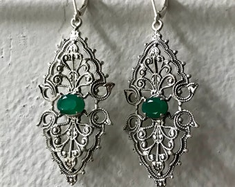 Green Onyx and Sterling Vintage Filigree Earrings