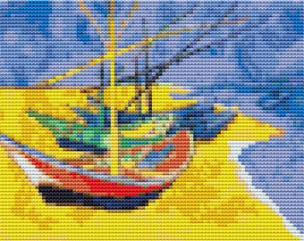 Boat Cross Stitch Chart, Boats on a Beach MINI Cross Stitch Pattern PDF, Art Cross Stitch, Vincent van Gogh, Embroidery Chart