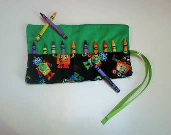 Robot crayon roll, crayon holder, crayon caddy, party favor