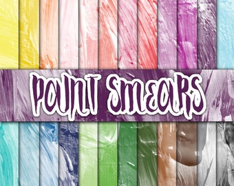 Paintbrush Strokes and Smears Digital Paper - Paint Textures - Paint Backgrounds - 24 Colors - 12inx12in - Commercial Use -INSTANT DOWNLOAD